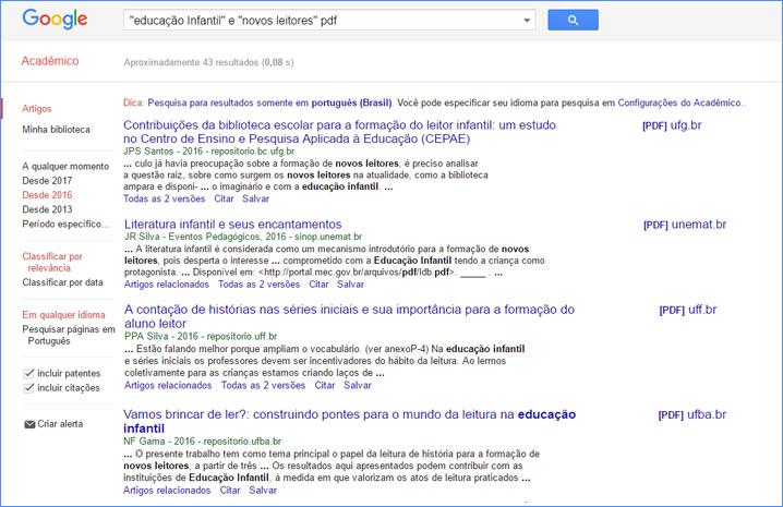 Google Acadêmico para escrever seu Referencial Teórico Metodológico.