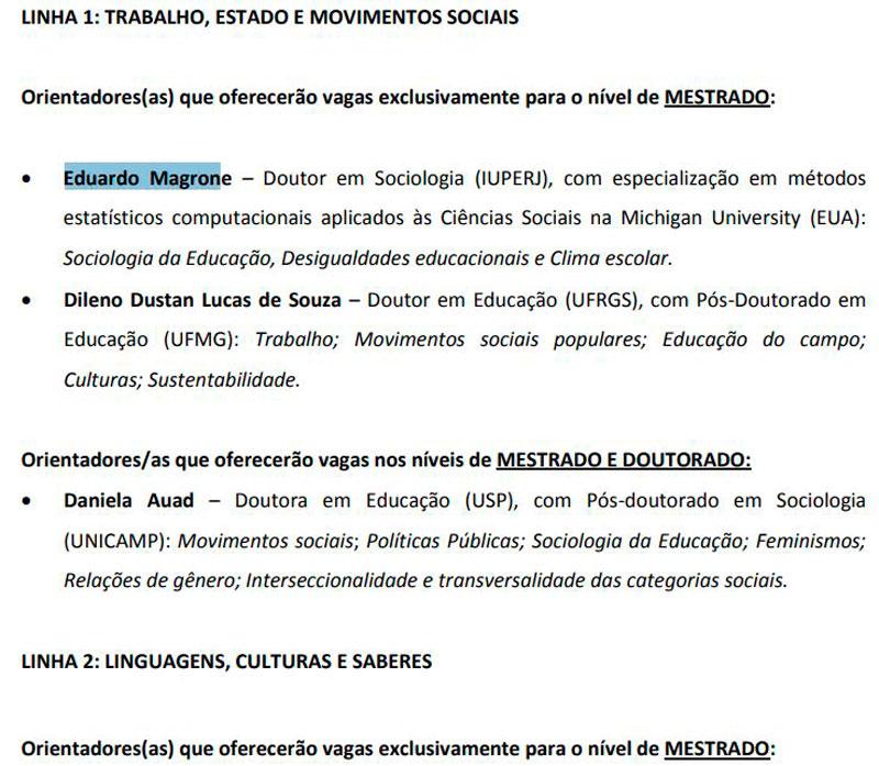 Linha de Pesquisa no Edital de seleção de Pós-Graduação