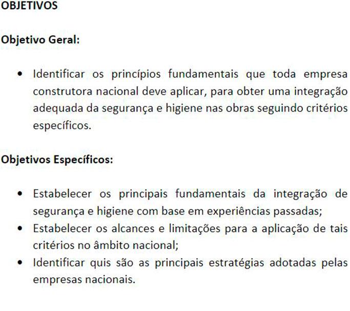 Exemplo de Trabalho de TCC: Objetivos Gerais e Específicos